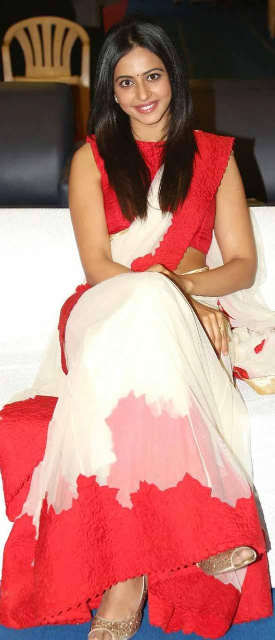 Rakul-Preet-Singh-White-Red-Saree