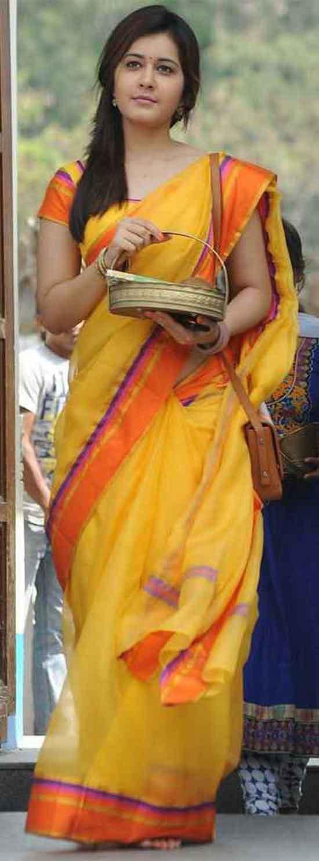 Rashi-Khanna-In-Yellow-Saree-With-Orange-Border
