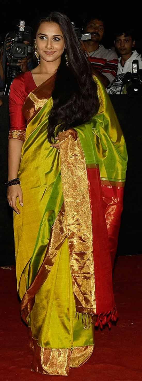 Vidya-Balan-Green-Pattu-Saree-Endorsement