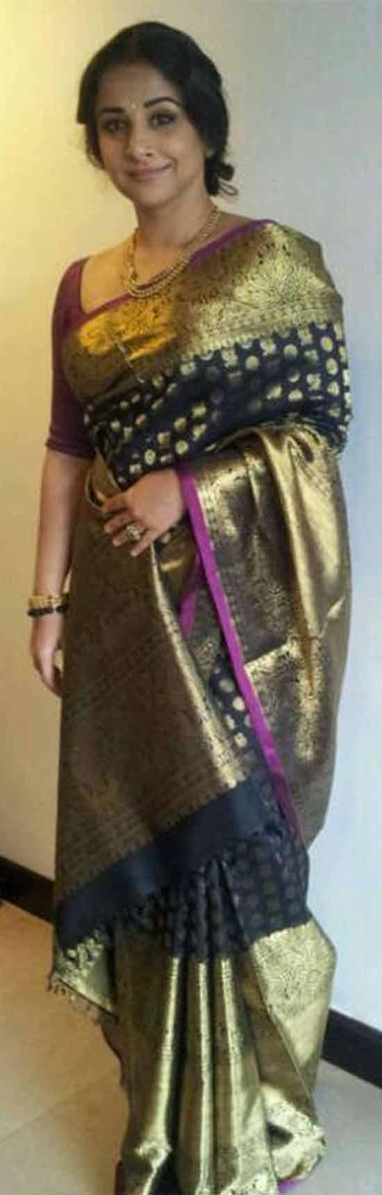 Vidya-Balan-In-Black-Kanjeevaram-Saree-Designed-By-Gauran