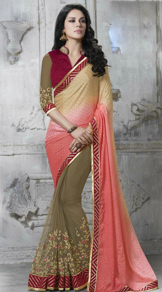 Beige & Pink Net Jacquard Saree With V Shape Chinese Collar Blouse