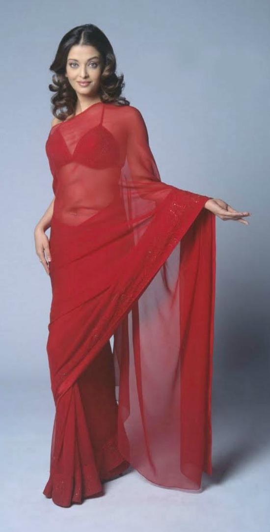 Aishwarya Rai In Plain Red Color Transparent Sree