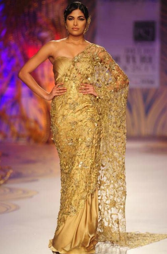 Gold Designer Saree With Corset Blouse
