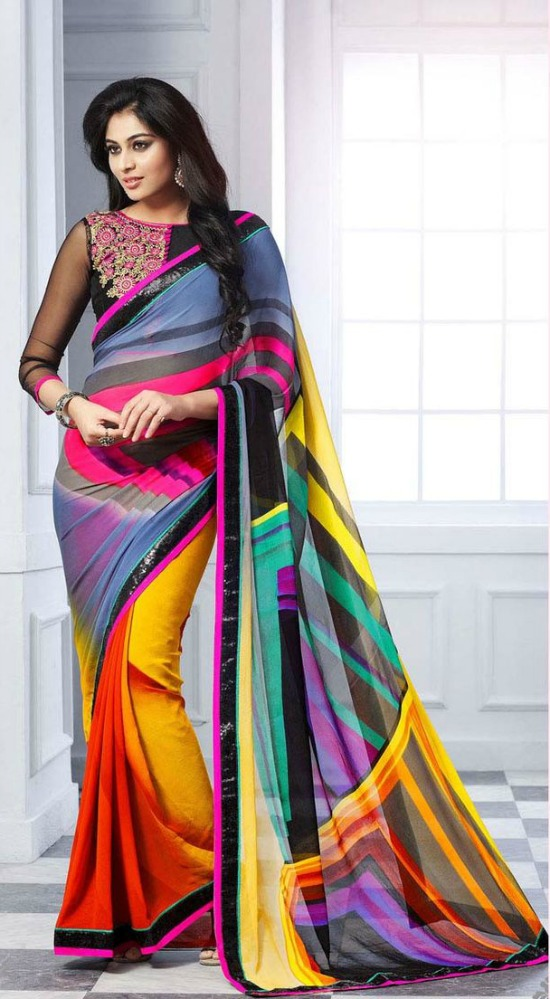 Multi Georgette Party Wear SareeWith Boat Neck And Transparent Saree