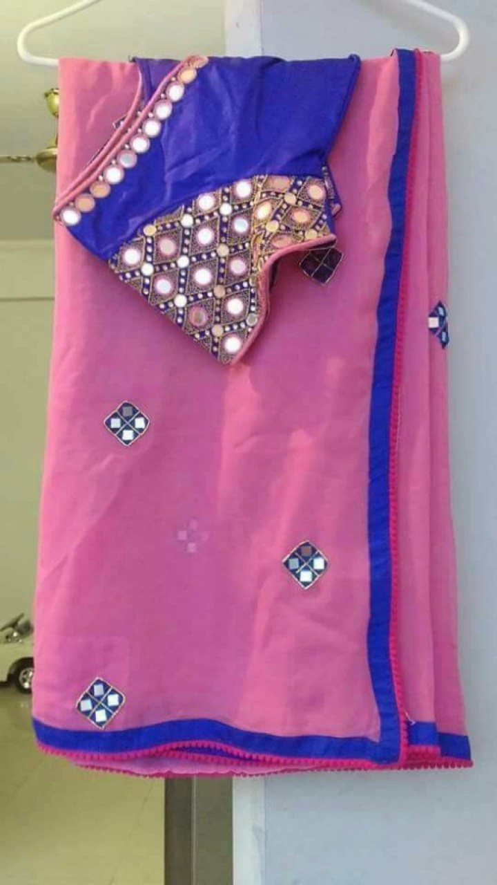 Pink Saree With Heavy Hand Mirror Work Blouse