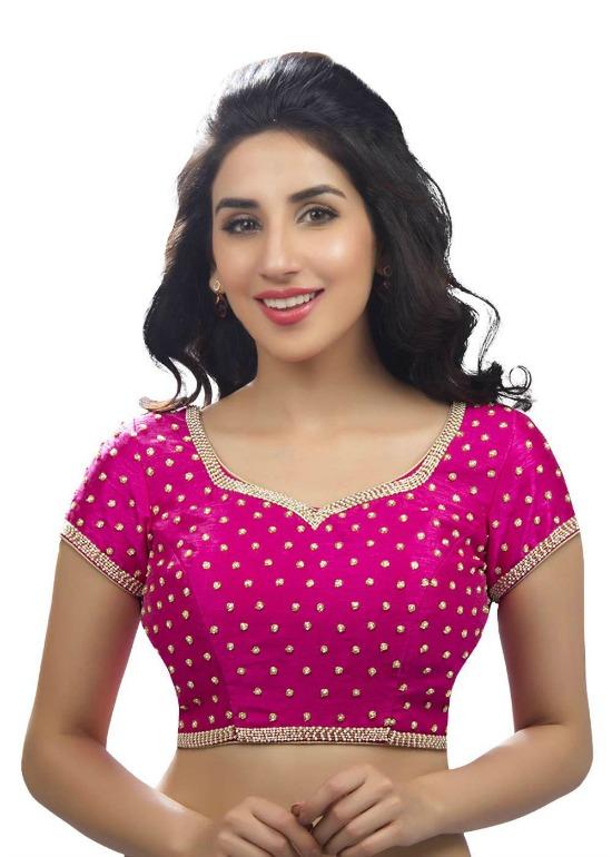 Alluring Pink Dupian Silk Ethnic Saree Blouse