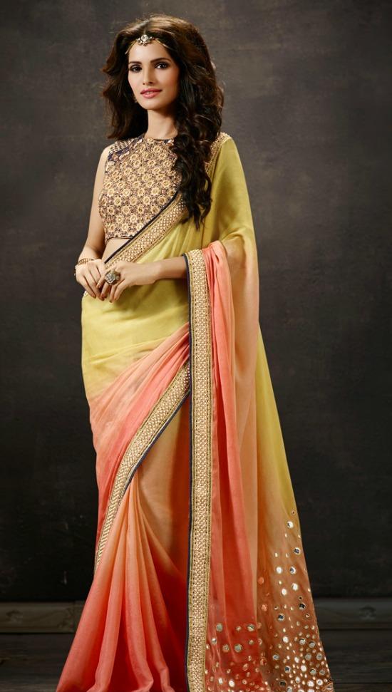 Orange Yellow Color Modest Mirror Work Designer Saree With Sleeveless Closed Neck Blouse