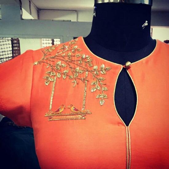 Gold Bird Embroidery On Orange Blouse