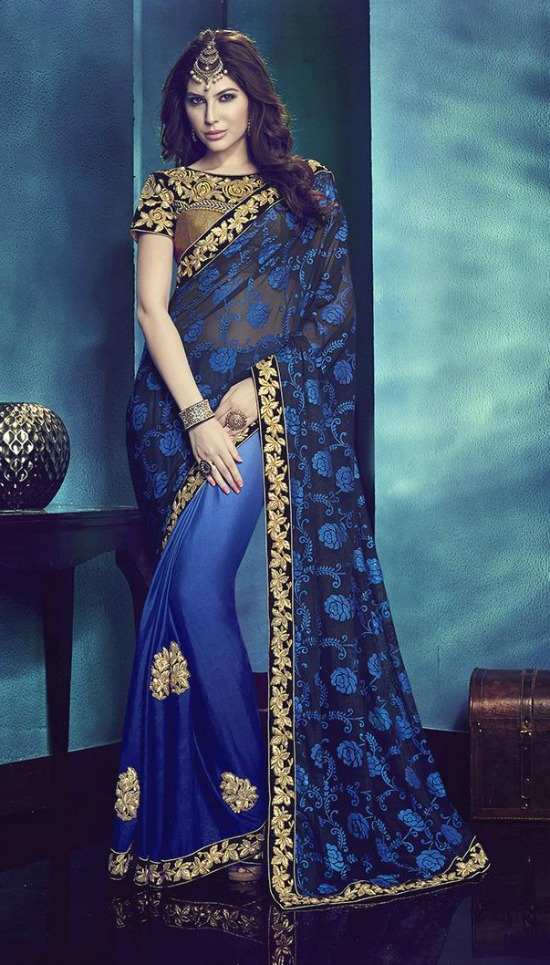 Blue Net and Crepe Half and Half Saree With Designer Blouse