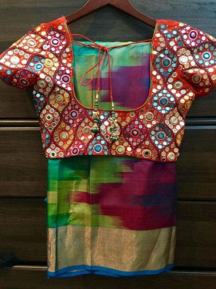 Multicolor Pattu Shaded Saree With Full Mirror Blouse