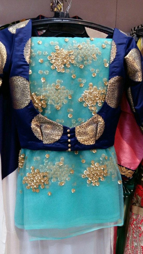 Net Embroided Beautiful Saree With Brocade Blouse In Navy Blue