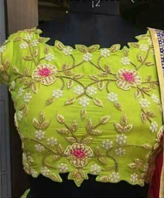 Cut Work Green Blouse With Pearl Embroidery