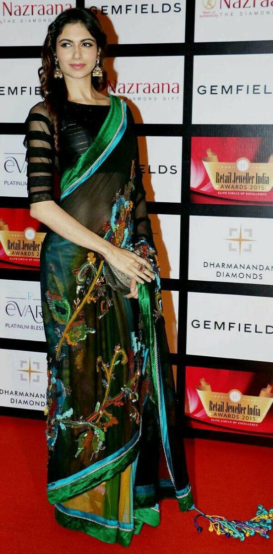 Multicolor Chiffon Saree With Designer Blouse
