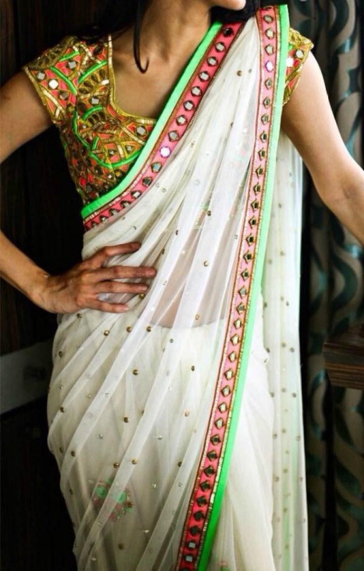 White Transparent Saree With Multicolor Blouse