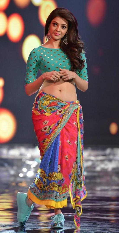 Kajal Aggarwal In Multicolor Low Waist Saree