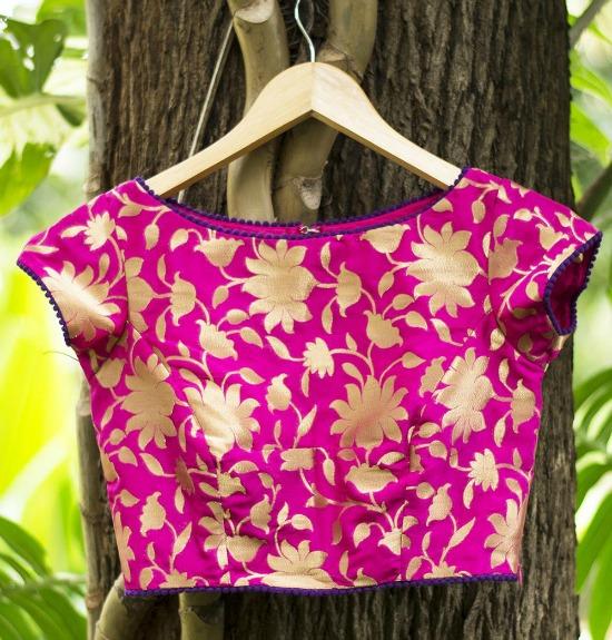 Fuchsia Pink Brocade Blouse With Purple Edging