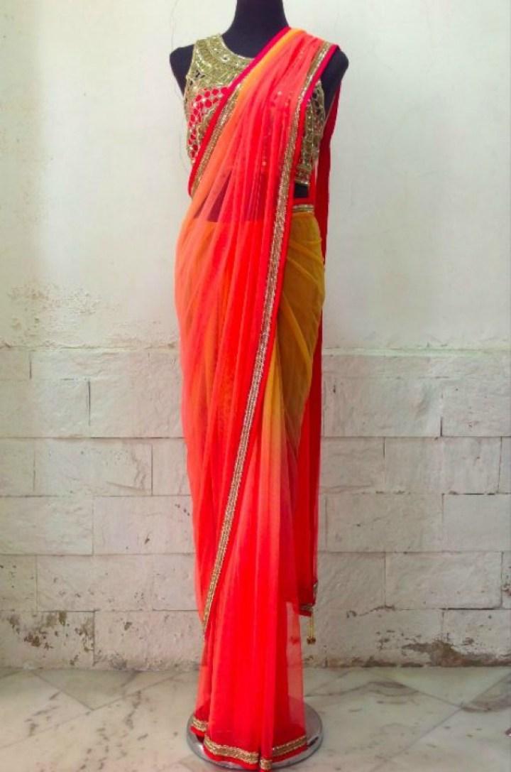 Pink Punch and Gold Saree From The Arpita Mehta Saree