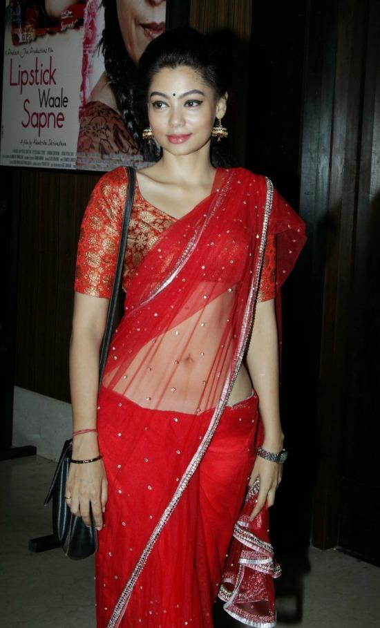 Ananya Dutt In Red Embllished Work Saree