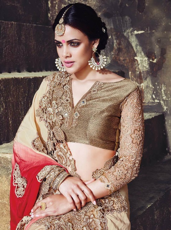 Red And Golden Combination Saree With Banarasi Lace Blouse