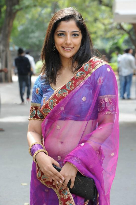 Actress Nishanthi Purple and Blue Transparent Saree