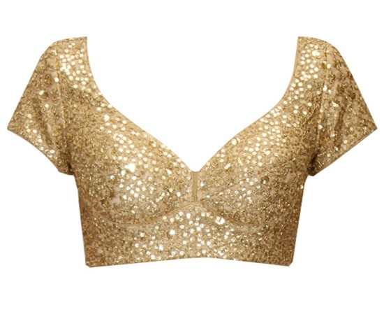 Designer Sequins Work Gold Color Blouse