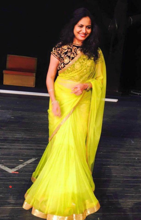 Sunitha In Yellow Saree With Black Closed Neck Designer Blouse