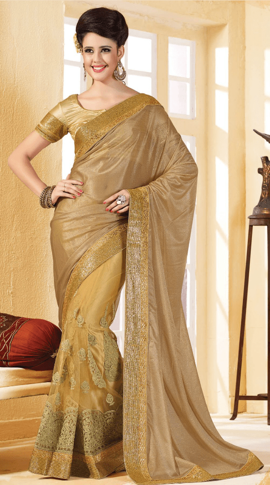 Chiffon Designer Saree in Beige and Gold Colour With Simple Blouse