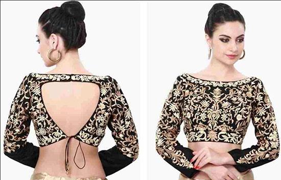 Black and golden zari work full sleeve boat neck blouse