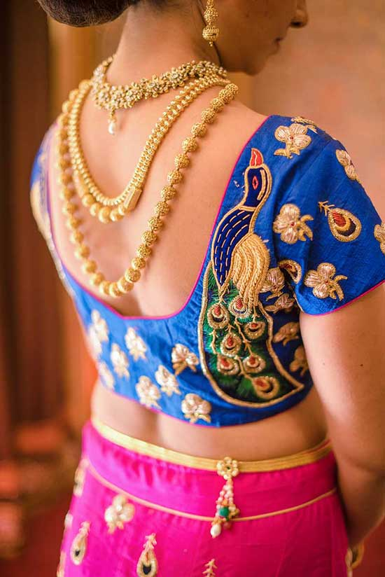 Blue-blouse-with-peacock-embroidery