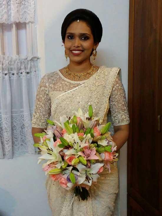 Christian wedding Bride in saree Kerala