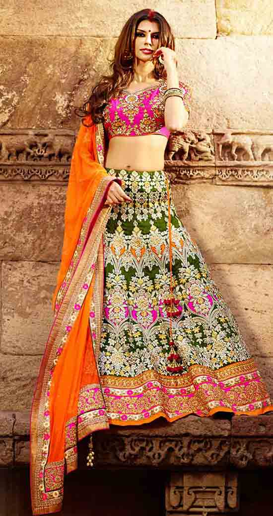 Dark Green Art Silk Lehenga Choli with Dupatta
