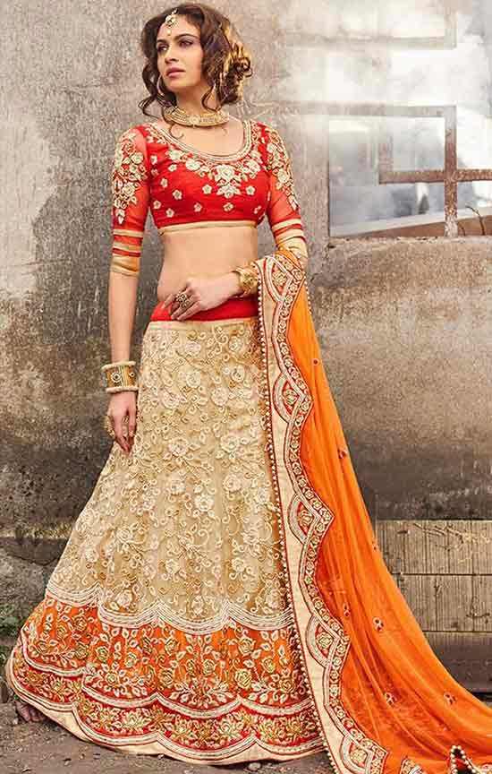 Heavy Beige Lehenga Choli With Zari Work