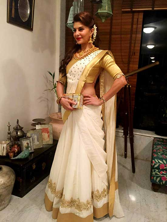 Jacqueline Fernandez in kerala style Half saree