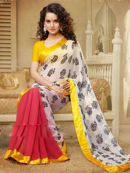 Kangana Ranaut Printed Red and Off White-Colour-Georgette Saree