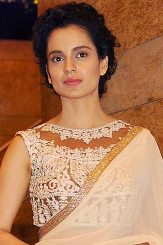 Kangana Ranaut peach pink zardozi embroidery designs sarees