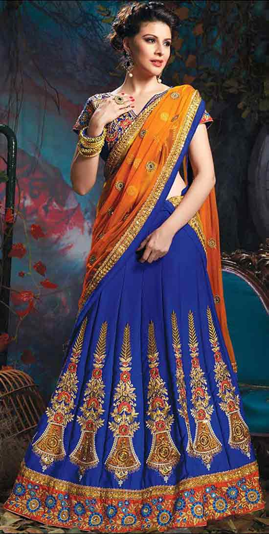 Lehenga For Engagement Half Saree Style Lehenga