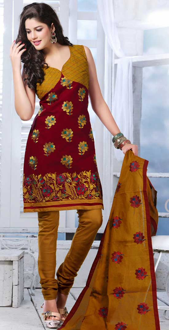 Maroon and Copper Brown Cotton Embroidered Churidar