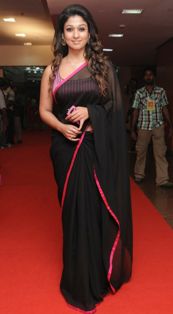 Nayantara In Black Silk Saree With Pink Border