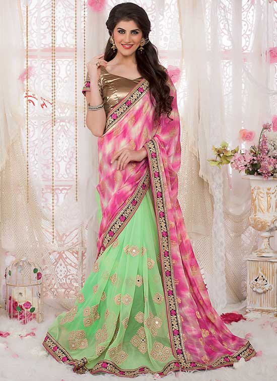 Pink Georgette Saree with Embroidery Work