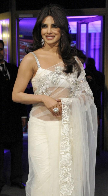 Priyanka Chopra In White Net stone Work Saree