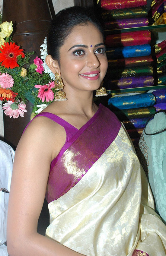 Rahul-preet-singh in White Saree