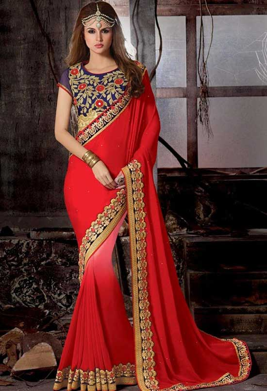 Red Color Embroidered georgette saree