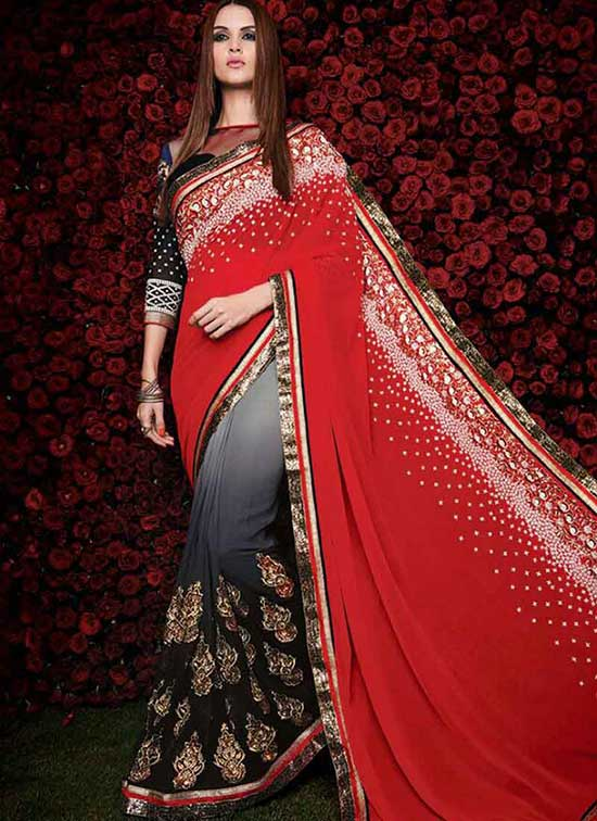 Royal Red And Grey To Black Shaded Georgette Stone Work Sarees