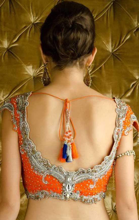 Sequined Orange back blouse design