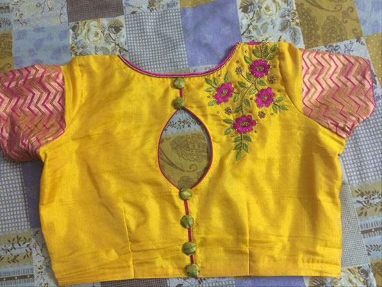 Simple-One-Side-Flower-Embroidery-With-Back-Buttoned-Keyhole-Blouse