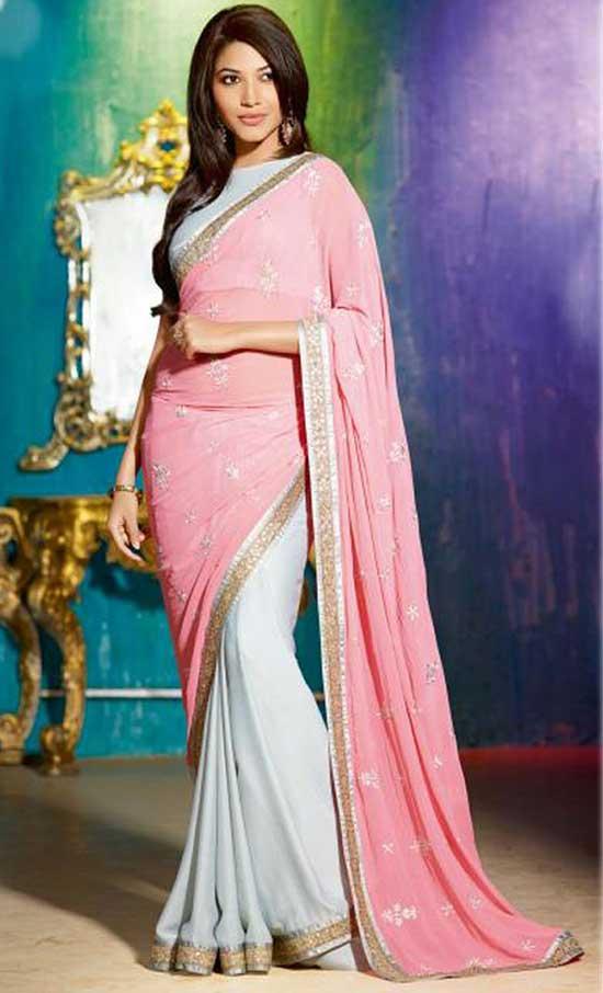 Sparkle Silk Georgette Pink & Grey Saree