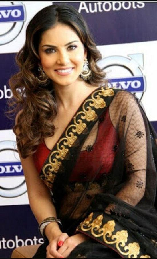 Sunny Leone in Hot Black Transparent Saree