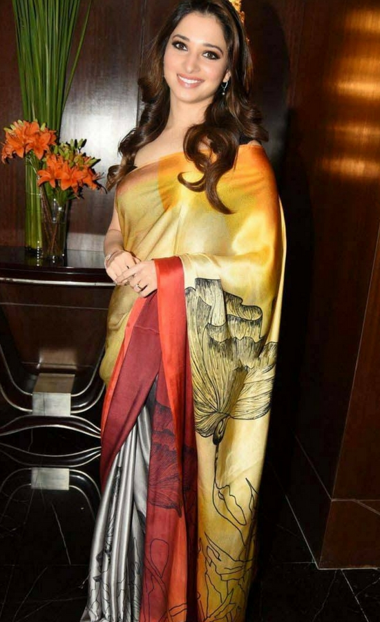 Tamanna Bhatia In Multicolor Printed Silk Saree