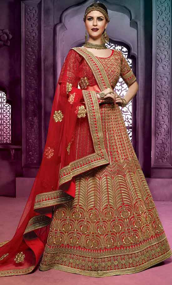 Vermilion Red Bridal Lehenga Choli