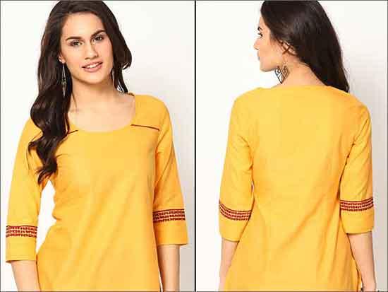 Yellow-Cotton-Kurta-Churidar Neck Designs